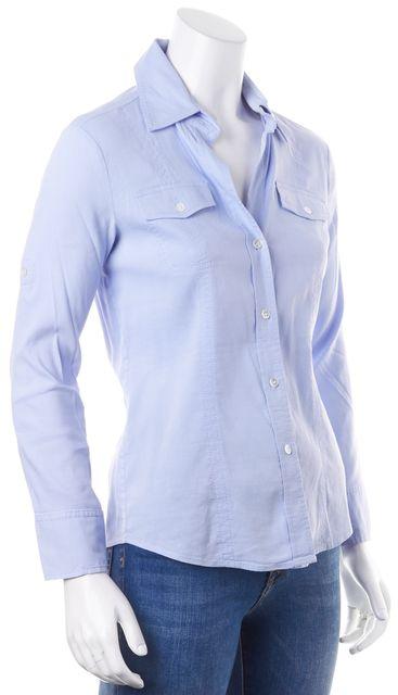 THEORY Blue Linen Sai Button Down Shirt Blouse