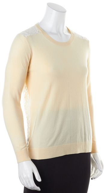 THEORY Beige Floral Lace Back Wool Crewneck Jaidyn Knit Top