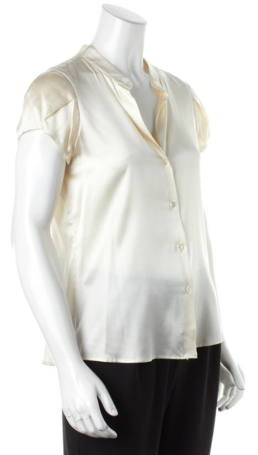 THEORY Ivory Short Sleeve Button Up Blouse