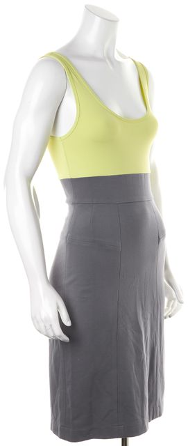 THEORY Gray Lime Green Colorblock Bodycon Dress