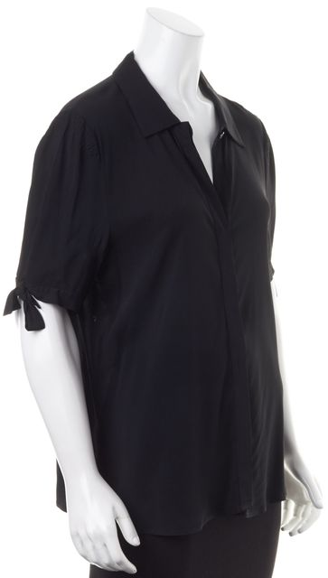 THEORY Black Tied Sleeve Button Down Shirt Blouse