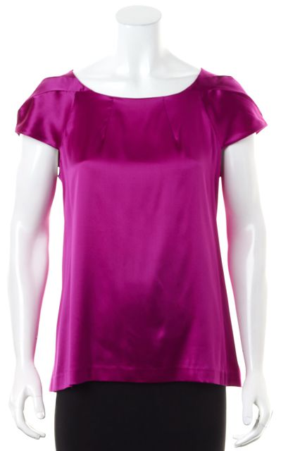 THEORY Purple Cap Sleeve Satin Silk Lowther Blouse