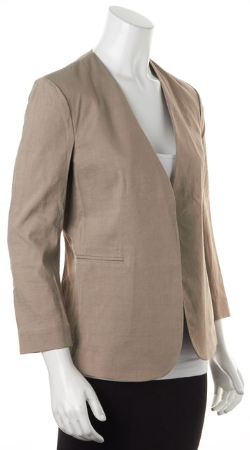 THEORY Warm Cocoon Brown Linen Crunch Wash Lindrayia Open Blazer