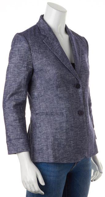 THEORY Blue Linen Tierra Wash Two Button Linworth B Blazer Jacket
