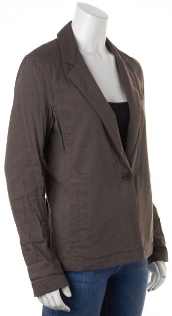 THEORY Brown Crunch Stretch Linen One Button Tarrah Casual Blazer Jacket