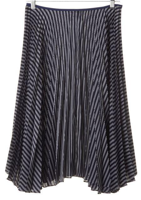 THEORY Light Navy Blue Ivory Main Stripe Zeyn W Pleated Full Skirt