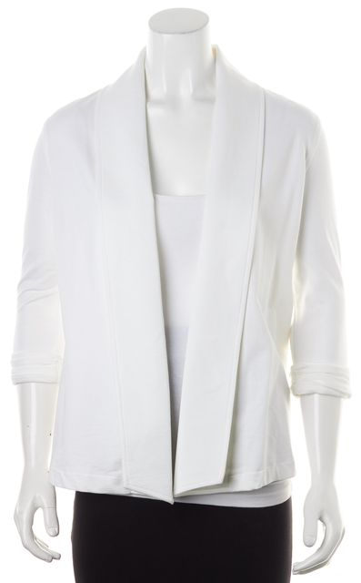 THEORY White Raj Cotton Terry Lined 3/4 Sleeves Open Ashbey Blazer Jacket