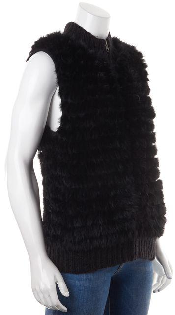 THEORY Black Rabbit Fur Zip Up Vest