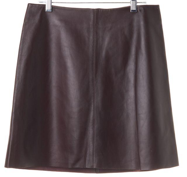 THEORY Burgundy Brown Lamb Leather Irenah L Wilmore Mini Skirt