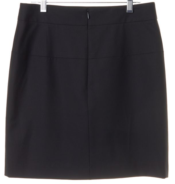 THEORY Black Solid Wool Double Stitch Straight Skirt