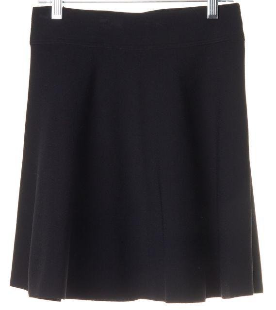 THEORY Black Solid Doreene Ventura Stretch A-Line Skirt