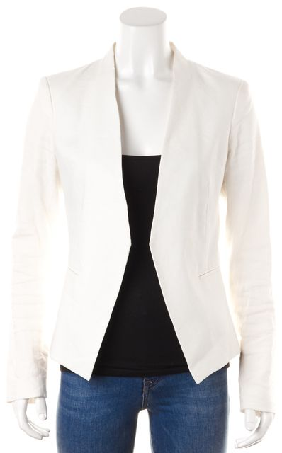 THEORY White Linen Angled Open Career Blazer