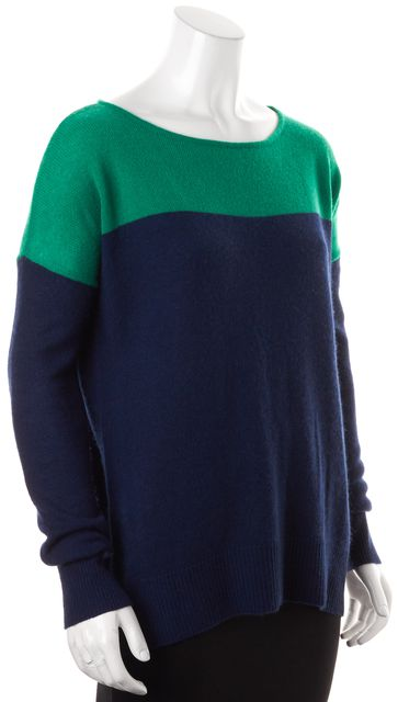 THEORY Navy Blue Green Color-Block Cashmere Suffina Boat Neck Sweater