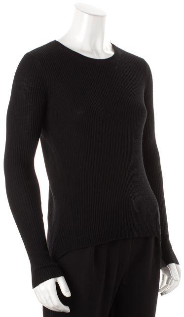THEORY Black Wool Ellyna Refine Asymmetrical Rib Knit Crewneck Sweater