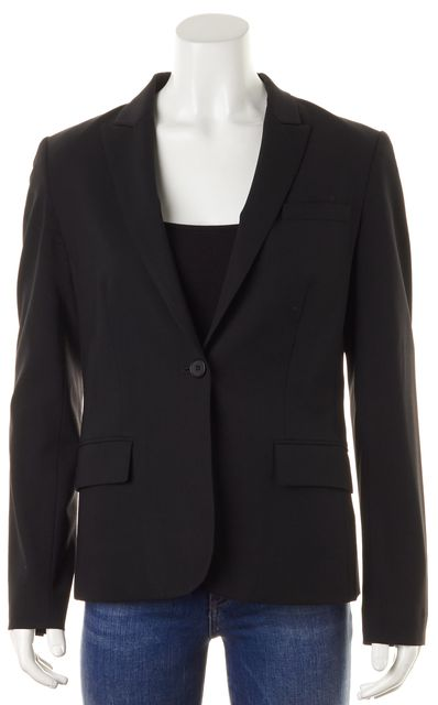 THEORY Black Solid Wool One Button Gabe Career Blazer