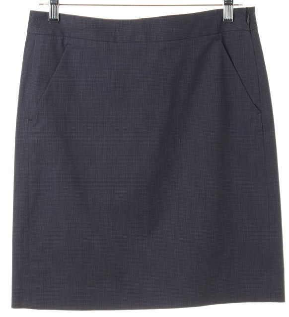 THEORY Blue Stretch Cotton Above Knee Lilous Straight Skirt