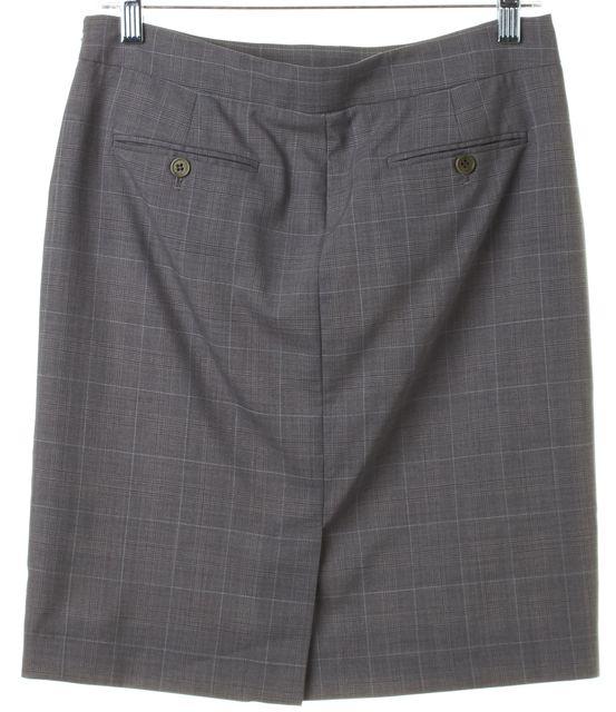 THEORY Gray Blue Plaid Wool Above Knee Mango Straight Skirt