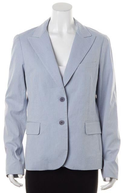 THEORY Blue White Striped Cotton Two Button Blazer