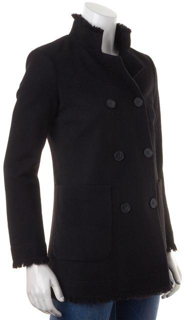 THEORY Black Wool Fringe Lined Double Breasted Valdona Coat