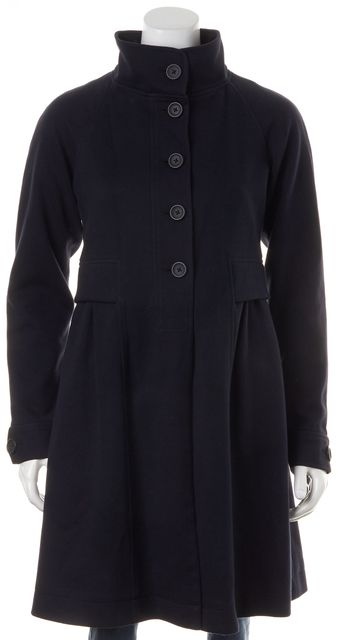 THEORY Navy Blue Cotton Button Up Swing Jacket