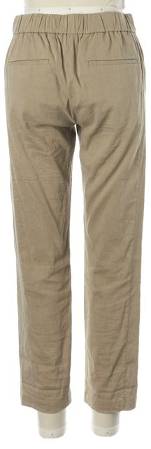THEORY Beige Stretch Linen Slim Fit Cropped Korene Pants