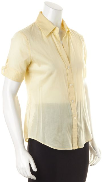 THEORY Pale Yellow Sheer Cotton Short Sleeve Button Down Shirt
