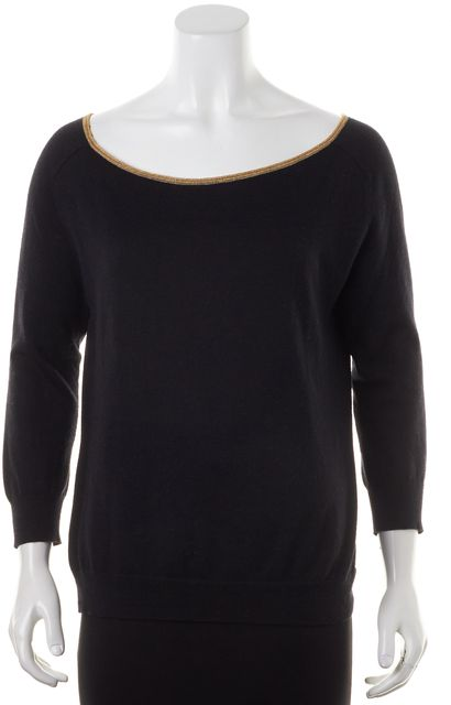 THEORY Black Gold Trim Connie Cash Cotton Boat Neck Sweater