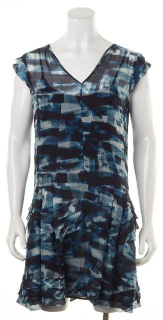 THEORY Blue Cubist Plaid Print Silk Meshima Shift Dress