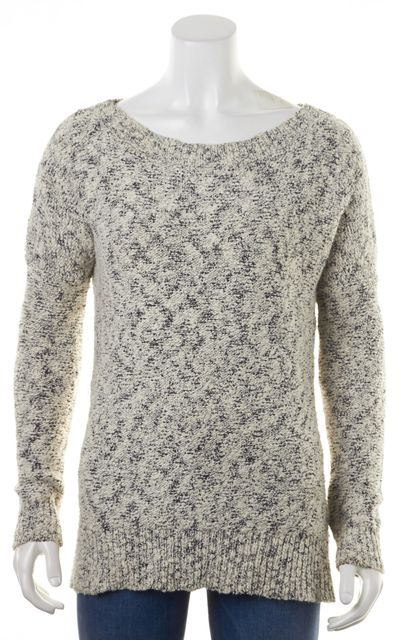 THEORY White Black Marled Freta B Wide Crewneck Sweater