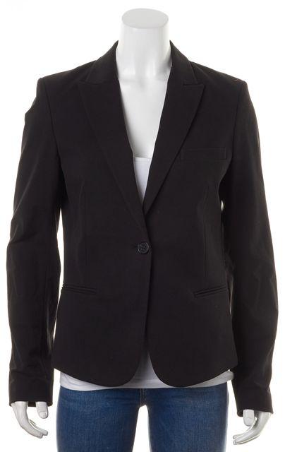 THEORY Black Stretch Cotton One Button Blazer Jacket