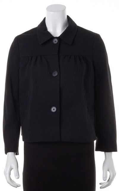THEORY Black Collared Button Up Fitted Jacket