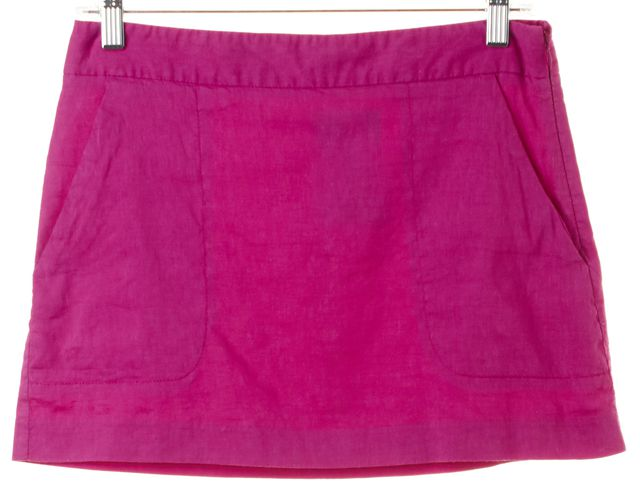 THEORY Fuchsia Pink Linen Side Zipped Raymond A-Line Skirt