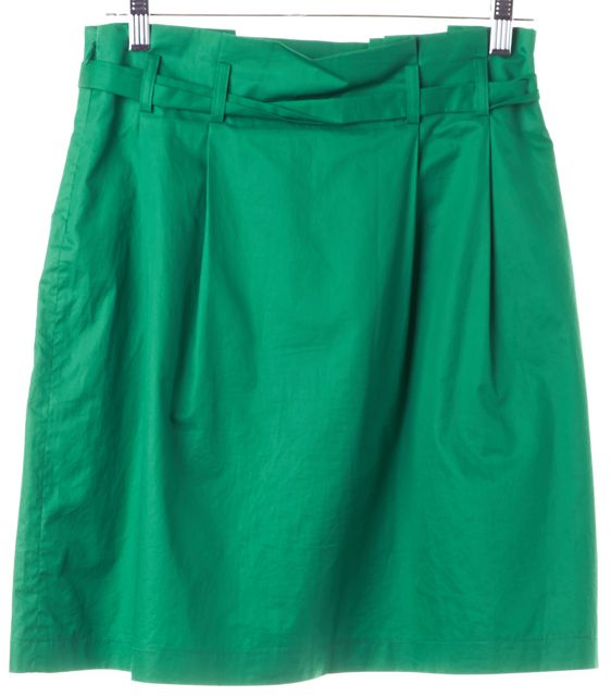 THEORY Bright Green Peruvia Belted Ruffle Bubble Skirt