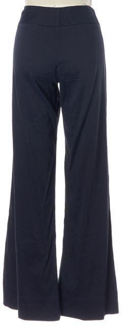 THEORY Dark Navy Blue Stretch Linen Flared Leg Trousers Dress Pants