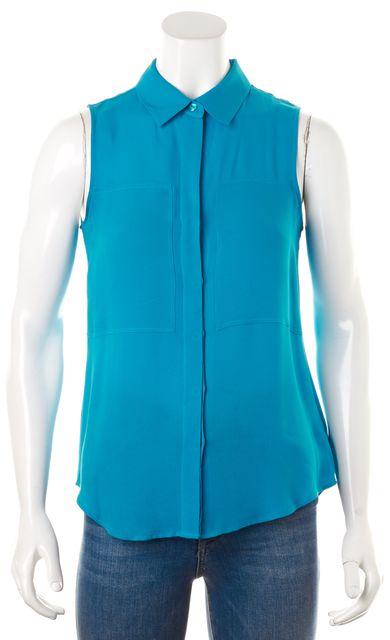 THEORY Light Teal Blue Silk Sleeveless Button Down Duria Shirt