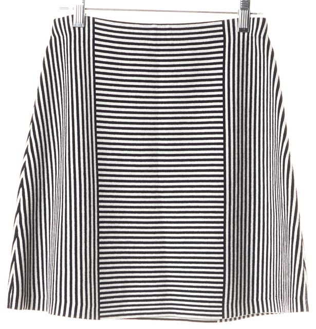 THEORY Navy Blue White Striped Tesla Knit A-Line Skirt