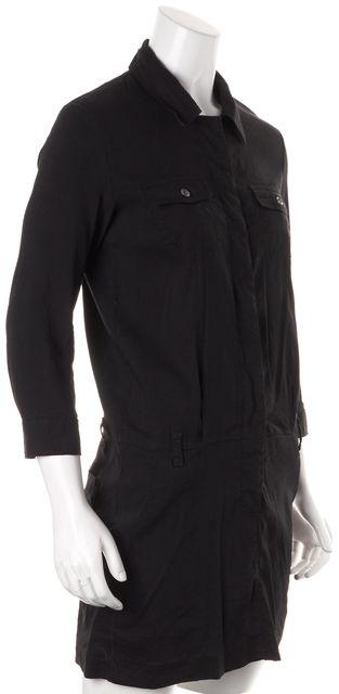 THEORY Black Linen Short Sleeve Above Knee Kadrian Shirt Dress