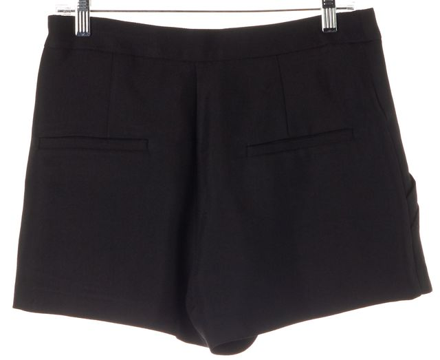 THEYSKENS' THEORY Black Silk Side Zip High Waisted Pleated Dress Shorts