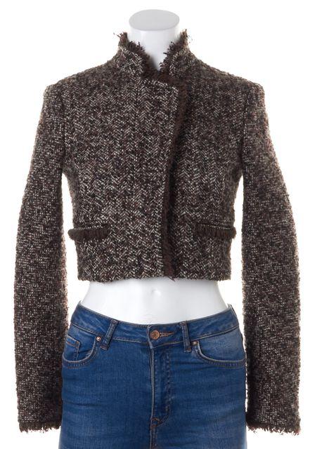 THEORY Brown Tweed Wool Winterberry Myleen Cropped Jacket
