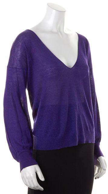 THEORY Purple Linen Silk Sheer Dede V-Neck Sweater