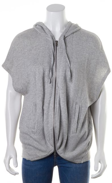 THEORY Gray Cotton Terry Lined Zip-Up Sajen Hooded Sweatshirt Sweater