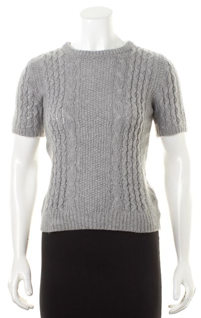 THEORY Gray Wool Cable Knit Short Sleeve Symon C Nuvola Crewneck Sweater