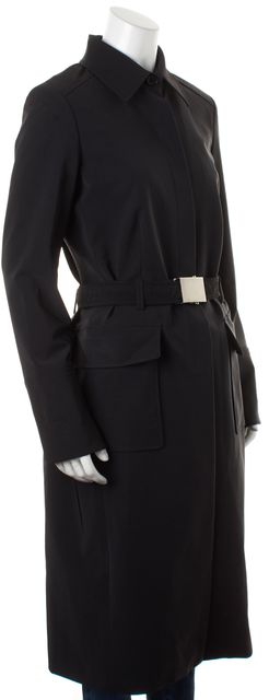 THEORY Black Hidden Buttons Belted Long Trench Coat