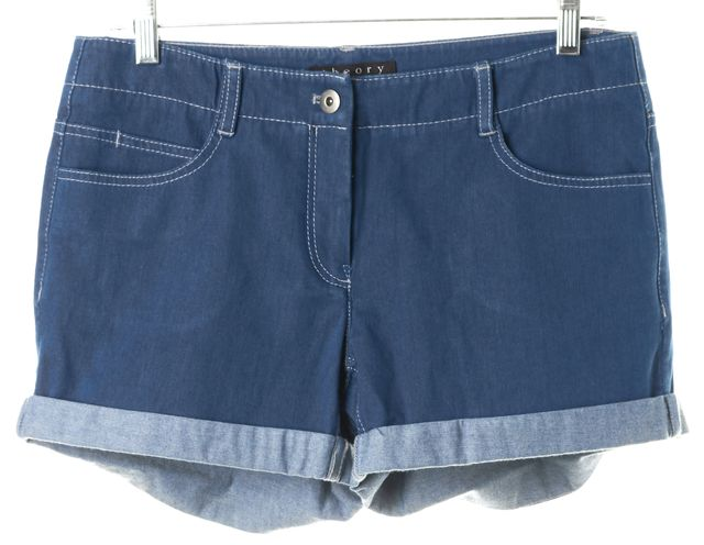 THEORY Blue Stretch Cotton Cuffed Denim Shorts