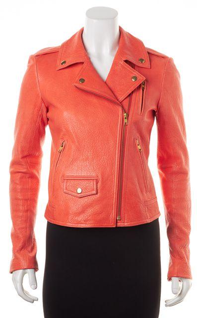 THEORY Orange Lamb Leather Elenian Juno Motorcycle Jacket