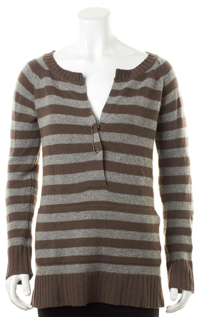 THEORY Brown Striped Cashmere Crewneck Sweater