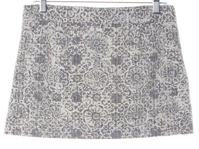 THEORY Gray Ivory Ornate Stretch Cotton Mini Skirt