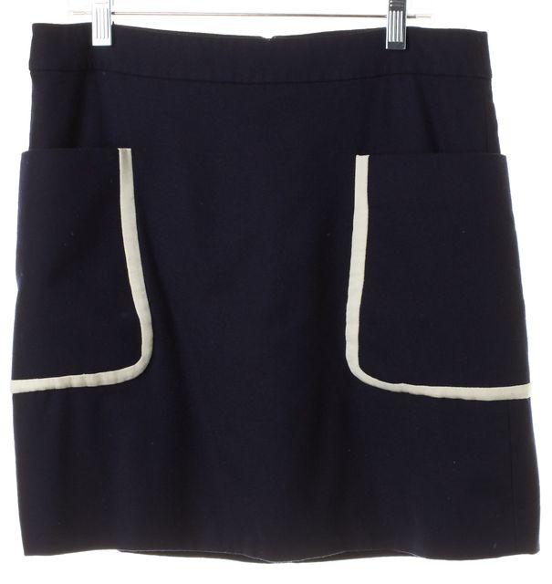 THEORY Navy Blue White Wool Pocket Front Strailia Straight Skirt