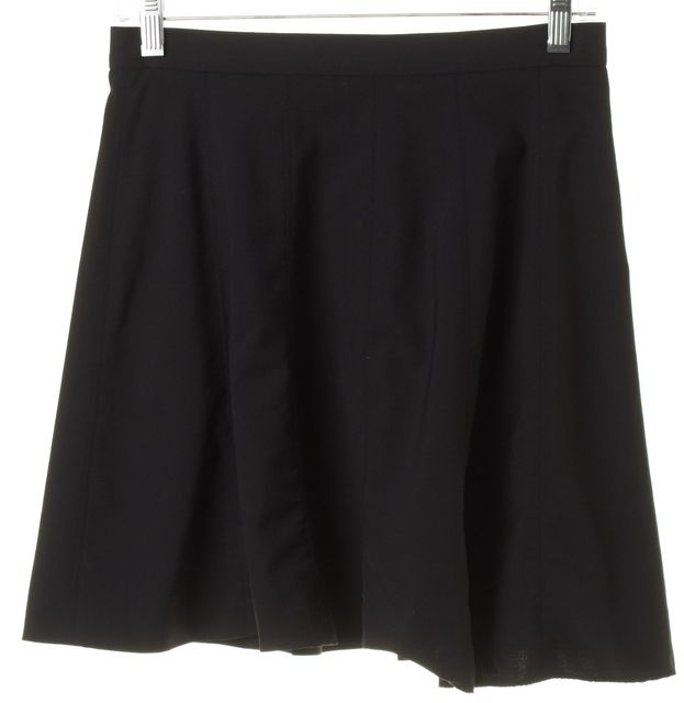 THEORY Black Wool Above Knee Bess W A-Line Skirt