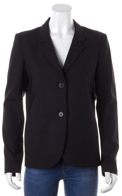 THEORY Black Wool Polished Suiting Two-Button Pleated Back Eldita Blazer